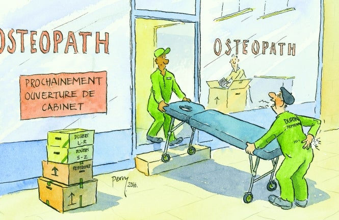 Cartoon shows removal man hurting his back delivering equipment for opening of new osteopath clinic