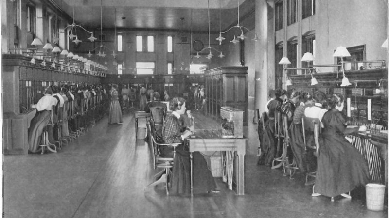 Black and white photo of telephone exchange operators historic